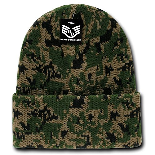 Classic Style Camouflage Watch Cap Cuff Beanie - Woodland Digital (Style Cap Camouflage)