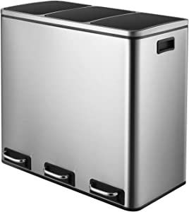 HEMBOR Trash Can, 14.3 Gallon (3X17L) Pedal Step Rubbish Bin, Stainless Steel Compartment Classified Recycle Garbage Dustbin, with Removable Inner Buckets and Carry Handles, Soft & Silent Lid Close