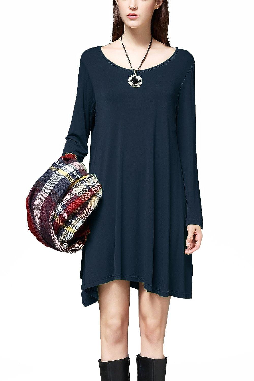 Navy bluee I2crazy Women's Long Sleeve Casual Loose Stylish Comfortable TShirt Dress