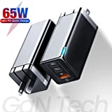 USB C Wall Charger, Baseus 65W Fast Portable 3 Port Charger [GaN Tech], USB-C QC PD 3.0 Power Adapter, Type C Charging Block