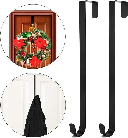 Door Hanger Hook Large Wreath Metal Hook for Christmas Wreath Front Door Hanger 15 Black 2 Pack Wreath Hanger Over The Door