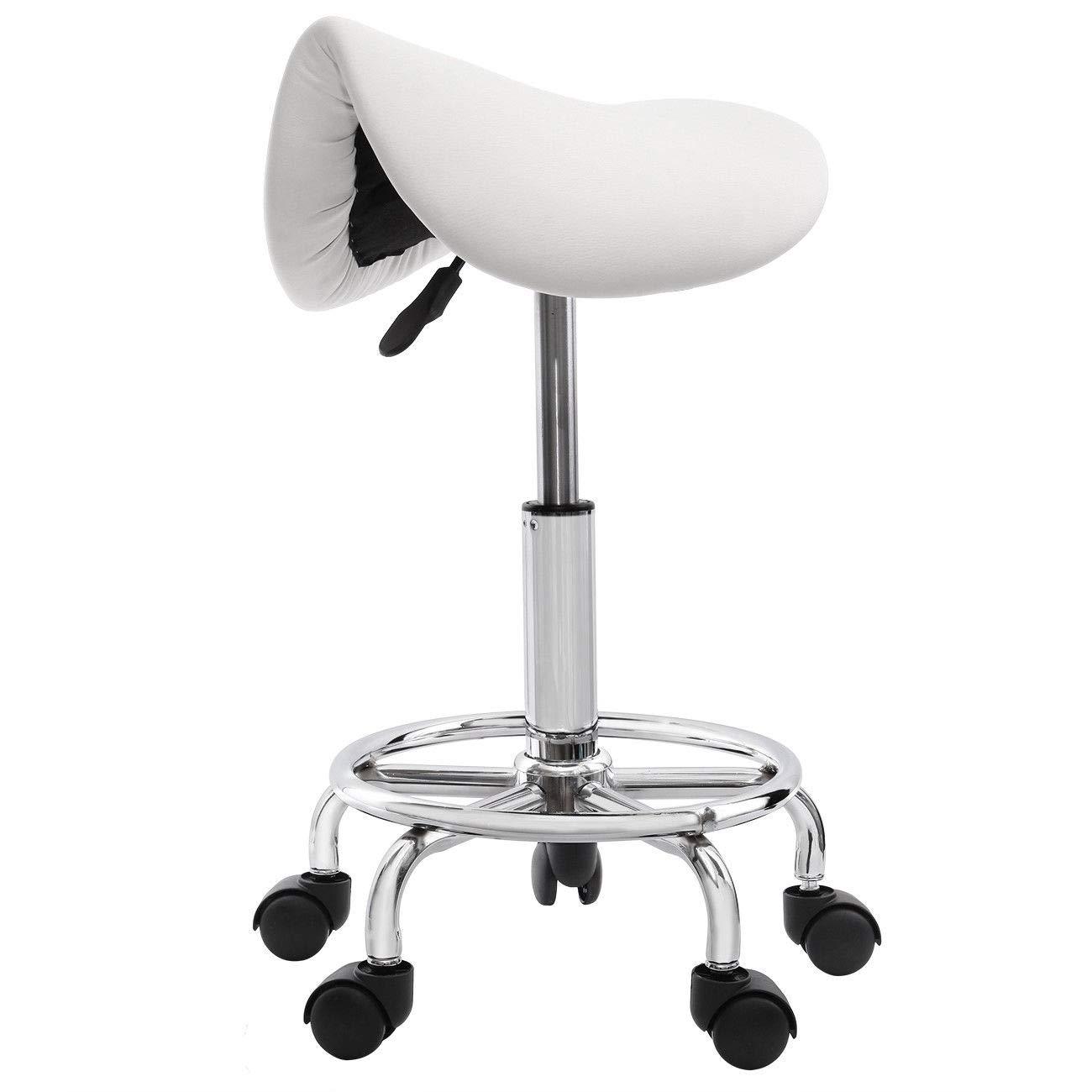Rolling Hydraulic Ergonomic Saddle Seat Bar Salon Barber Chair Hair Styling Beauty Spa Shampoo Hair Salon Spa Saddle Stool Pedicure/Manicure Nail Technician Massage Equipment | White