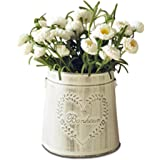 APSOONSELL French Country White Vases Decorative Rustic Metal Pitcher Tin Vase for Flowers Vintage Home Decor