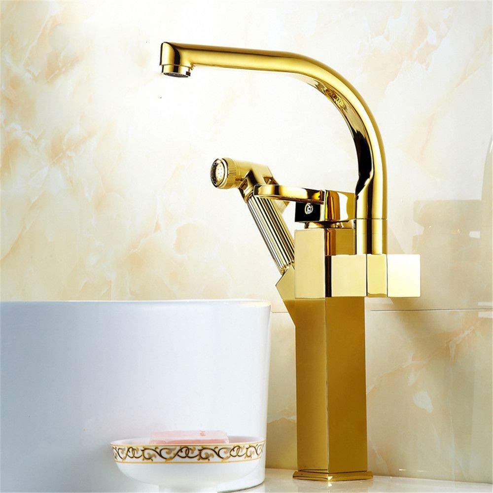 YAWEDA Kupfer-Bassin-Hahn-Doppeldrahtziehen Heiß- und Kaltwassermischer Waschbecken Hahn-Bassin-Pull Wasser Gold-Double Lift Typ
