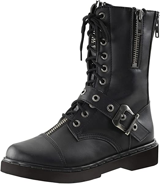 2f7a3ba9a0b0b Summitfashions Mens Combat Boots Black Vegan Leather Shoes Lace Up Buckle  Zipper 1 Inch Heel Size