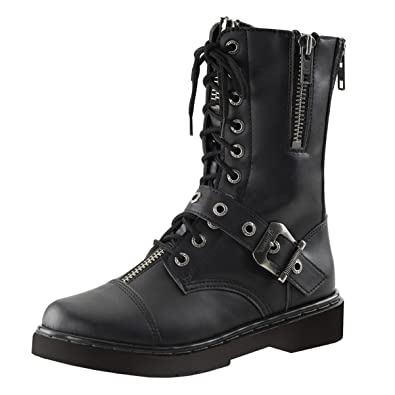 Amazon.com | Mens Combat Boots Black Vegan Leather Shoes Lace Up ...