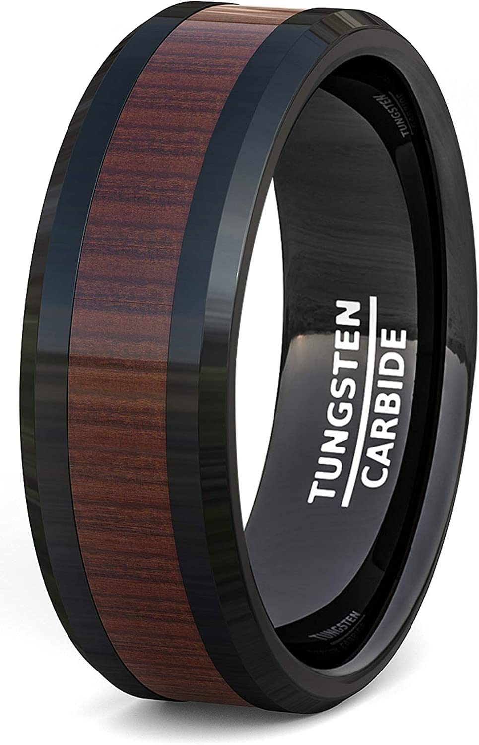 Duke Collections Mens Wedding Band Black Tungsten Ring Wood Pattern Inlay Beveled Edge Comfort Fit