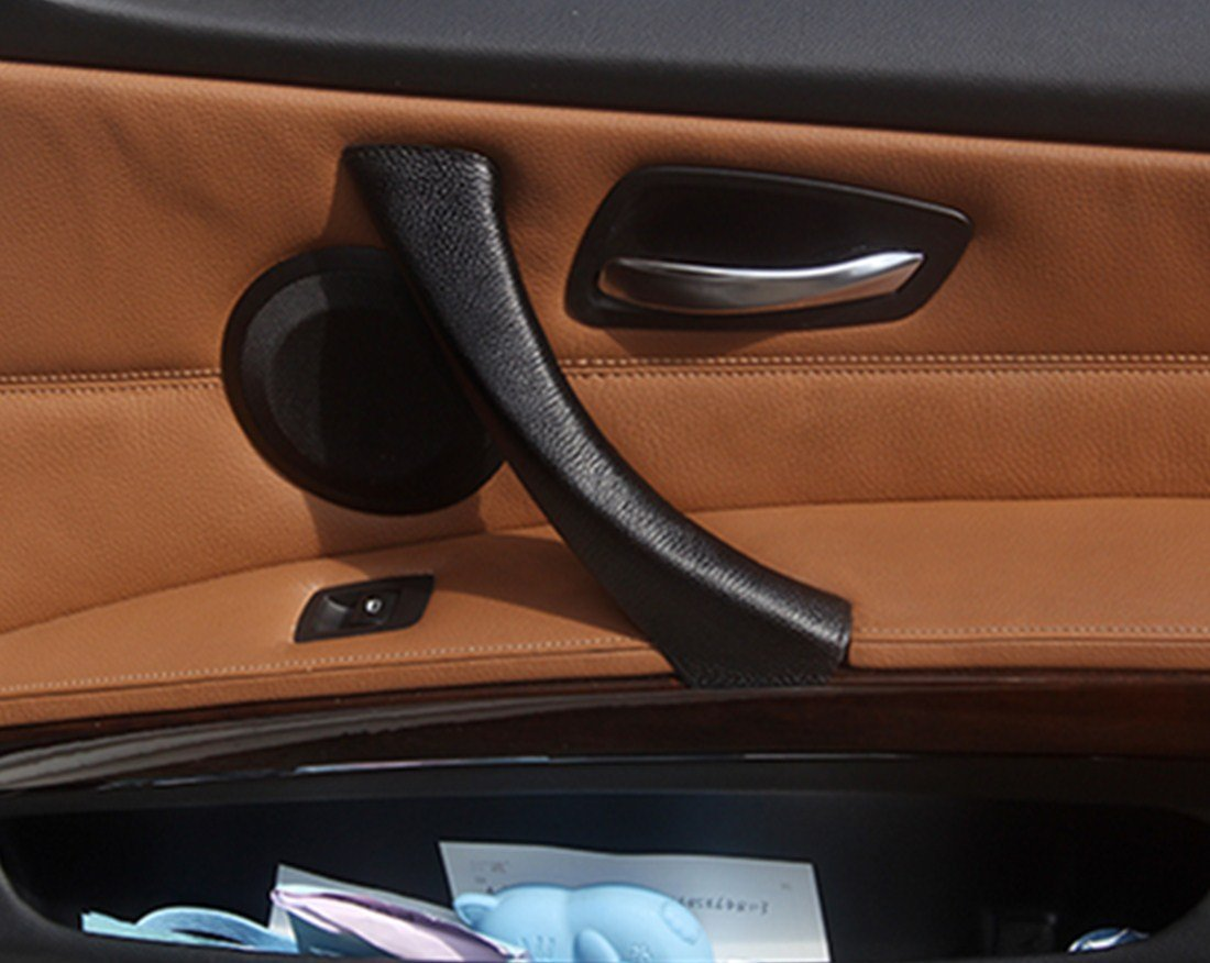 Fit for BMW 3 Serise E90 E91 Interior Door Handle Cover Leather Mat Accessories black