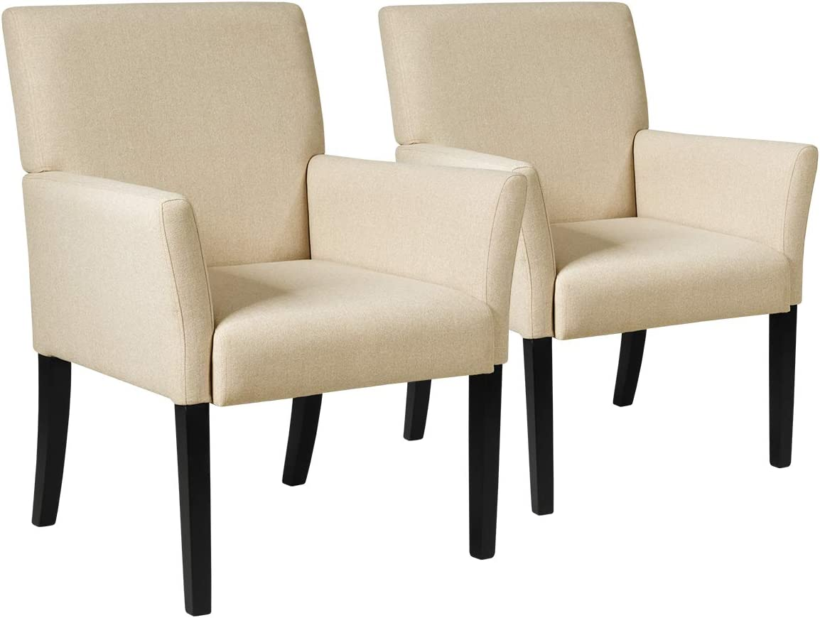 Giantex Fabric Executive Guest Chair Set of 2, Upholstered Reception Chair w/Padded Arms, Comfortable Backrest, Wood Legs, Contemporary Guest Chairs for Meeting Room, Office, Dining Room, Beige (2)
