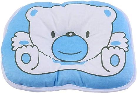 Precioso oso lindo patr/ón de dibujos animados almohada reci/én nacido beb/é apoyo coj/ín almohadilla prevenir cabeza plana almohada de algod/ón para beb/é
