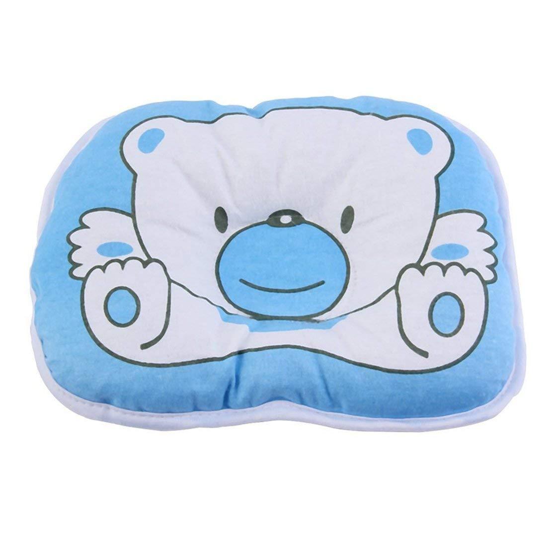 Color:blue Precioso oso lindo patr/ón de dibujos animados almohada reci/én nacido beb/é apoyo coj/ín almohadilla prevenir cabeza plana almohada de algod/ón para beb/é Kaemma