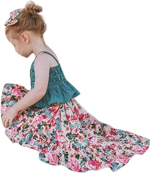 Toddler Baby Girls Kid Sleeveless Dot Straps Shirt Tops Floral Skirt Clothes Set
