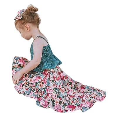 06e2ea4a423e Toddler Baby Girls Buttons Shirt Top + Floral Ruffled Long Skirts Tutu Dress  Outfit Set Summer