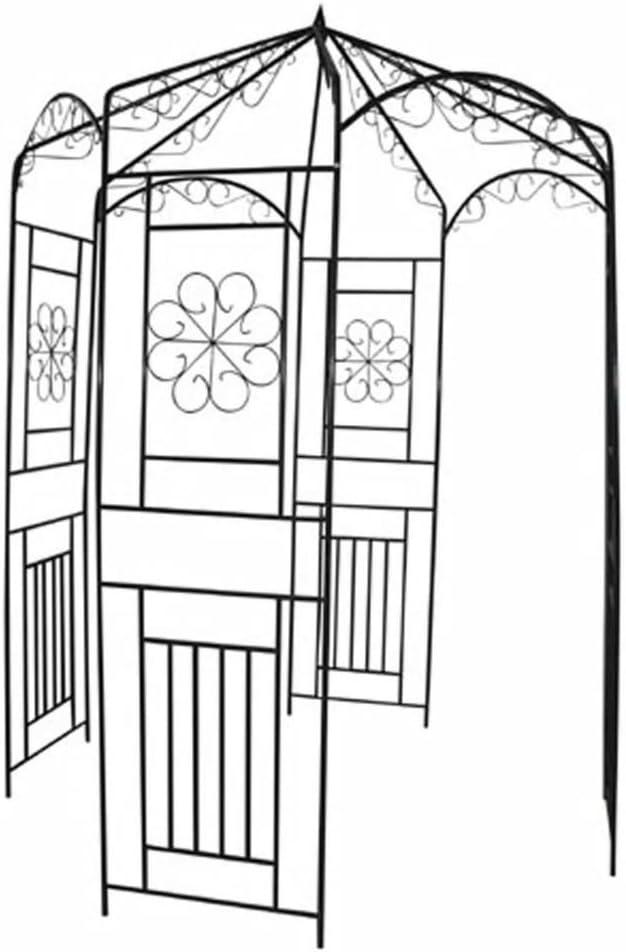 UnfadeMemory Arco para Rosass de Jardín Romántico,Pérgola de Jardin,Soporte de Plantas para Jardín Patio o Terraza,Hierro Forjado,Verde Oscuro