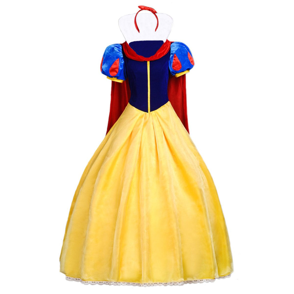Angelaicos Womens Princess Costume Dress Cloak Headband (M, Yellow Red)