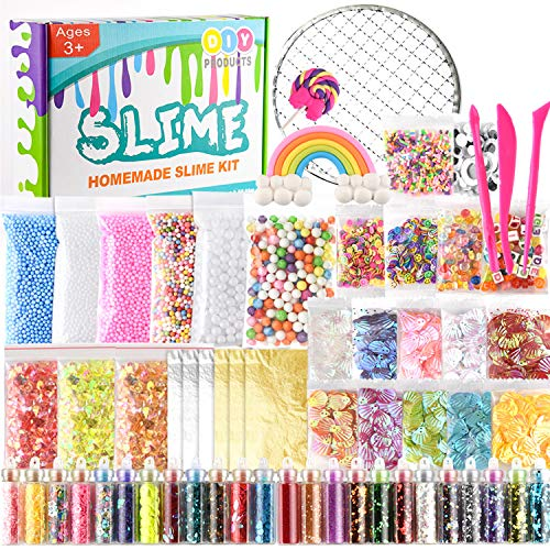 (KUUQA 61 Packs Slime Supplies Kit,Including Fishbowl Beads,Sugar Paper, Grid, Googly Eyes, Shell, Slices, Confetti, Slime Foam Beads, Imitation Gold Leaf (Contain No)
