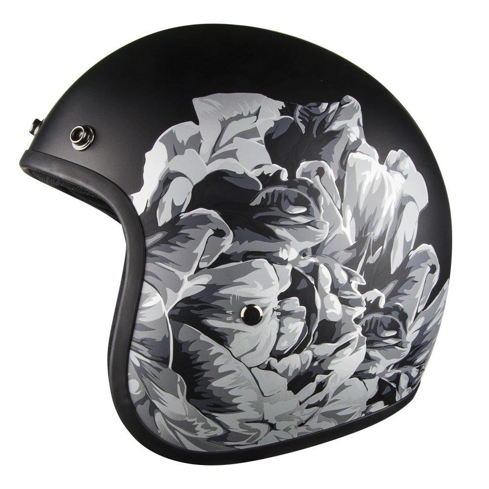 Voss 501 Womens Bobber Open Face Retro Helmet Low Profile Lightweight - Matte Black Flora