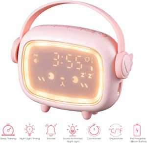 Banne Cute Alarm Clock for Kids OK to Wake Sound Activated Alarm Clock Rechargeable with Night Light Tempterature 6 Ringtone Snooze Sleep Trainer