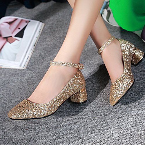 15f5a57ebabf07 ... AIYOUMEI Damen Glitzer Knöchelriemchen Chunky heel Pumps mit 5cm Absatz  Kleinem Absatz Schuhe Gold
