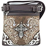 Embroidered Western Rhinestone Cross Messenger Bag Cross Body Purse (Brown)