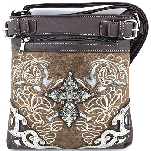 Embroidered Western Rhinestone Cross Messenger Bag Cross Body Purse (Brown) by scarlettsbags