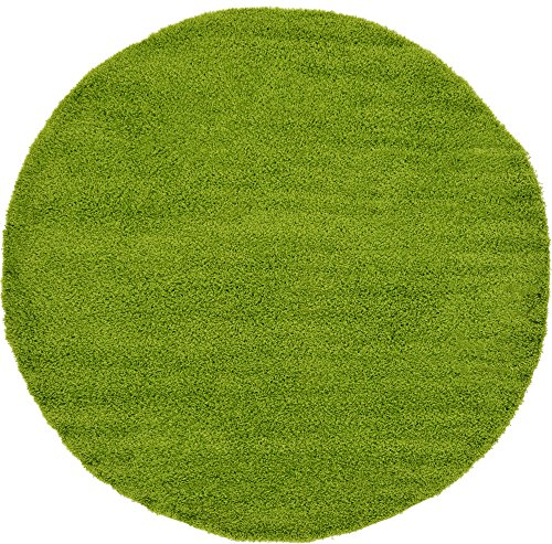 Unique Loom Solo Solid Shag Collection Modern Plush Grass Green Round Rug (8' 2 x 8' 2) (Green Round)