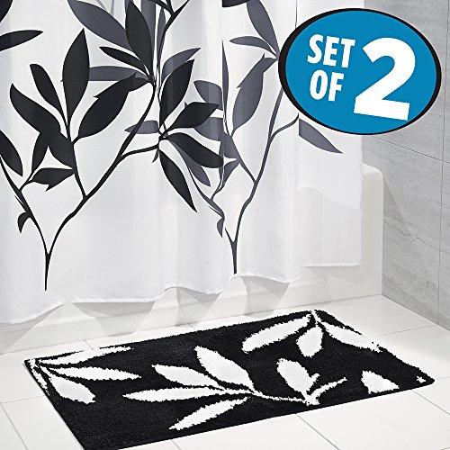 mDesign Fronds Curtain Microfiber Bathroom