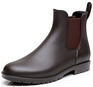 LILY999 Damen Regenstiefel Gummistiefel Kurzschaft Stiefel Blockabsatz  Chelsea Boots Rain Schuhe(Braun,Größe 34 110091a9f1