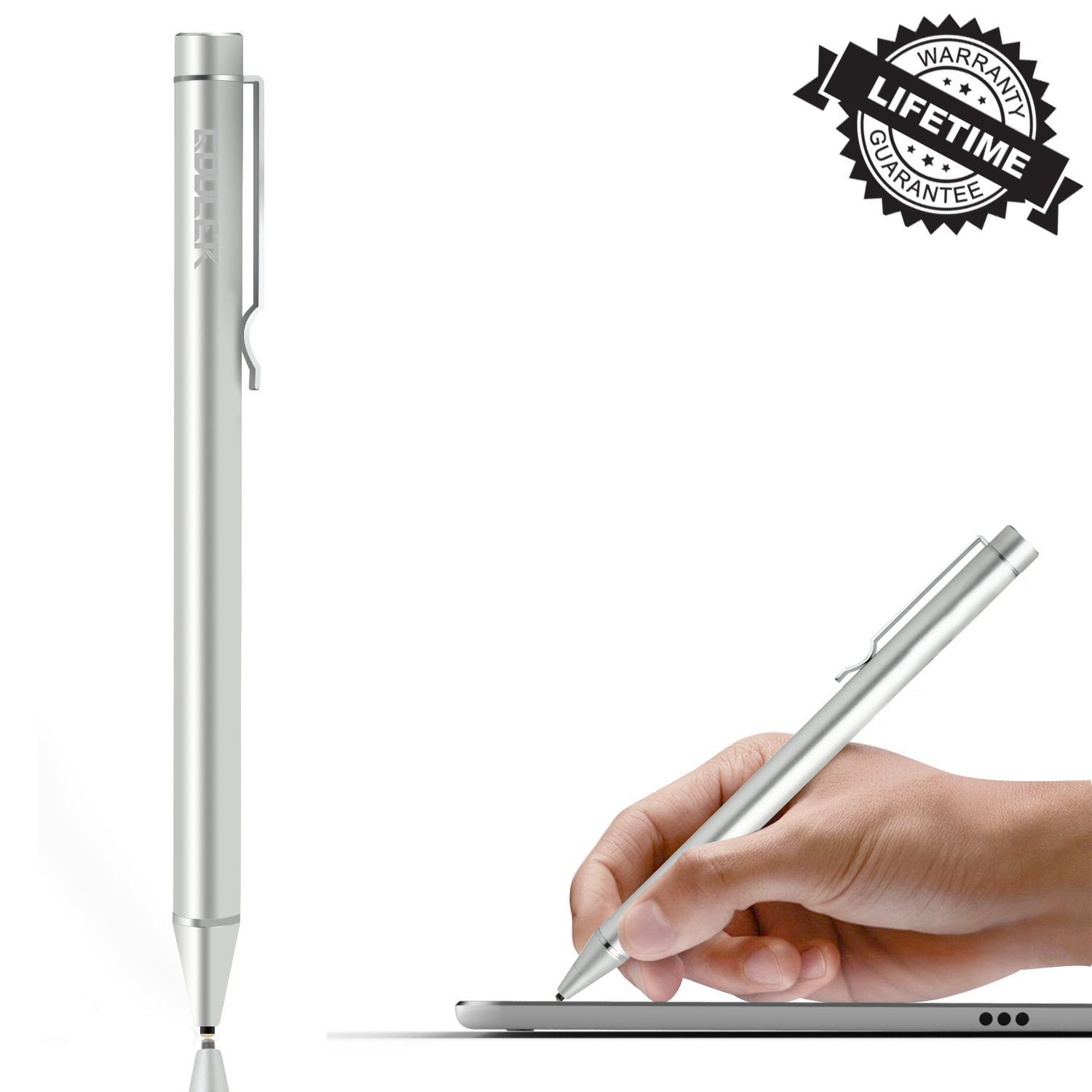 High-Precision Active Stylus Pen with Fine Tip for iPad/iPhone X/8/8 Plus, Samsung Tablets and Other Capacitive Touch Screen Devices(Sliver)