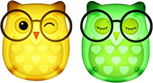 2 PCS Owl LED Plug in Night Light for Kids- Wall Lamp Take Good Care Children Sleep Light Sensor Auto Controlled Nightlights for Baby Nursing (Yellow+Green)