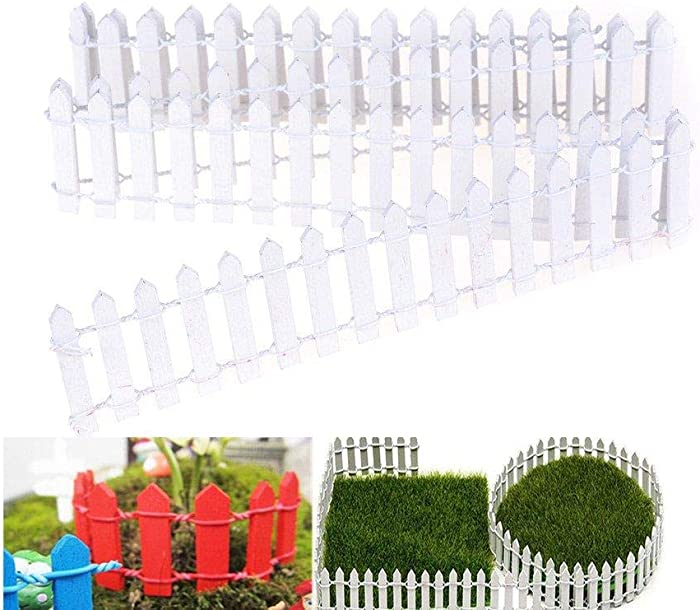 "Miniature Fairy Garden Fence,Wood Picket Fence Palisade,Decorative Fence Fencing for Outdoor or House Decor,Moss Framing Ornaments,DIY Micro-Landscape Plant Pots Bonsai Accessories,120"" by 2"",White"