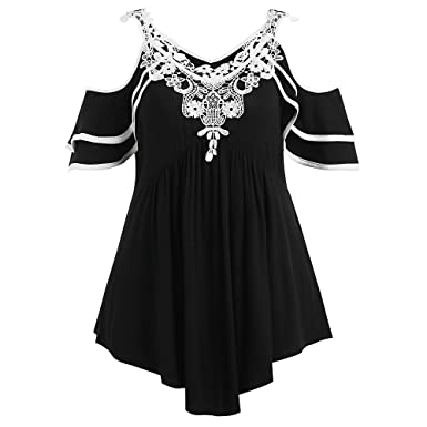 9fe27e40f8c RoseGal Cold Shoulder Lace Crochet Trim Layered T-Shirt Plus Size Tops for  Women (Black