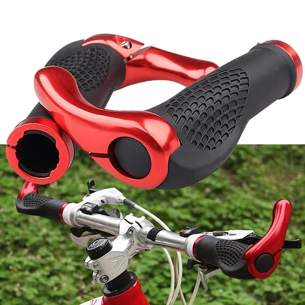 Bloqueo para Manillar de Bicicleta Rojo tambi/én para BMX Flotante Doble Bloqueo pu/ños para Bicicleta de monta/ña dise/ño ergon/ómico y c/ómodo SKST Pu/ños para Manillar de Bicicleta