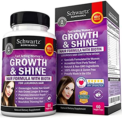 Hair Growth Vitamins with Biotin by Schwartz Bioresearch