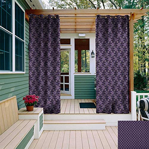 leinuoyi Geometric, Outdoor Curtain Set, Pinwheel Design with Dark Color Palette Abstract Pattern Winter Motifs, for Patio W108 x L108 Inch Mauve Lavander Purple