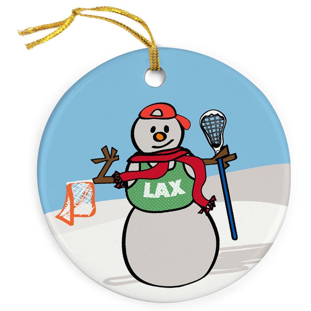 ChalkTalkSPORTS Guys Lacrosse Porcelain Ornament | Snow Bro Christmas Ornament