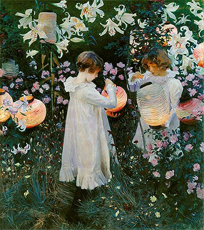 John Singer Sargent (Carnation, Lily, Lily, Rose, c.1885/86) Canvas Print Reproduction (21.7x19.2 in) (55x48.7 (John Singer Sargent Carnation Lily Lily Rose)