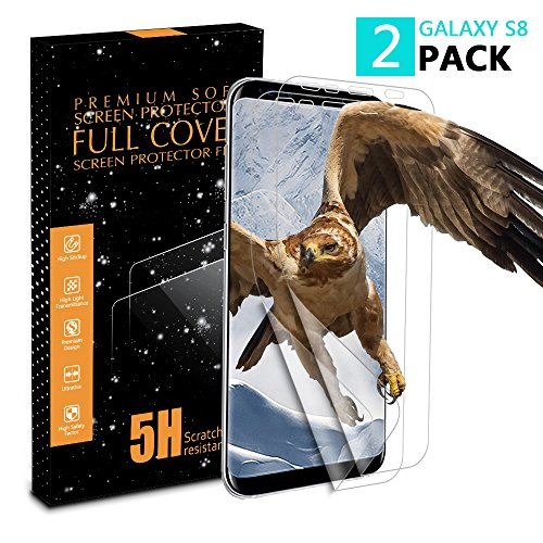 Galaxy S8 Screen Protector [2 Pack][Case Friendly][Not Glass], Vinpie Full Coverage HD Anti-Bubble Screen Protector for Samsung Galaxy S8
