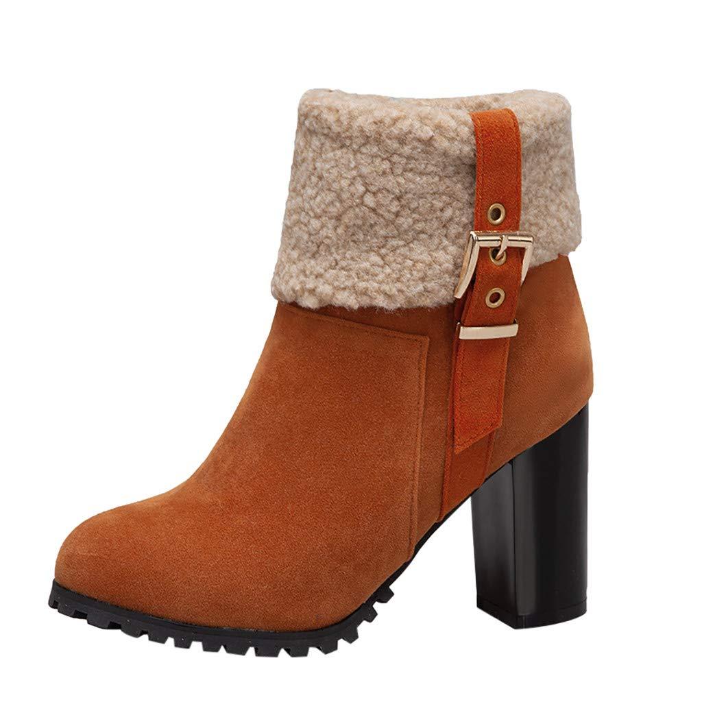 JJHAEVDY Women's Warm Short Boots Suede Chunky High Heel Round Toe Winter Snow Ankle Booties Waterproof Wide Width Boots by JJHAEVDY