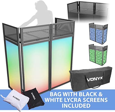 Lycra Disco VONYX Folding DJ Screen Facade Booth System with Mixer Shelf /& Bag
