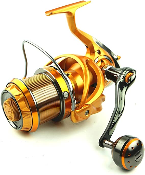 Isafish Saltwater Spinning Fishing Reels Ultra Smooth Big Game Power Distance Throwing Sea Bass Fishing Reel Surf Casting Metal Reel