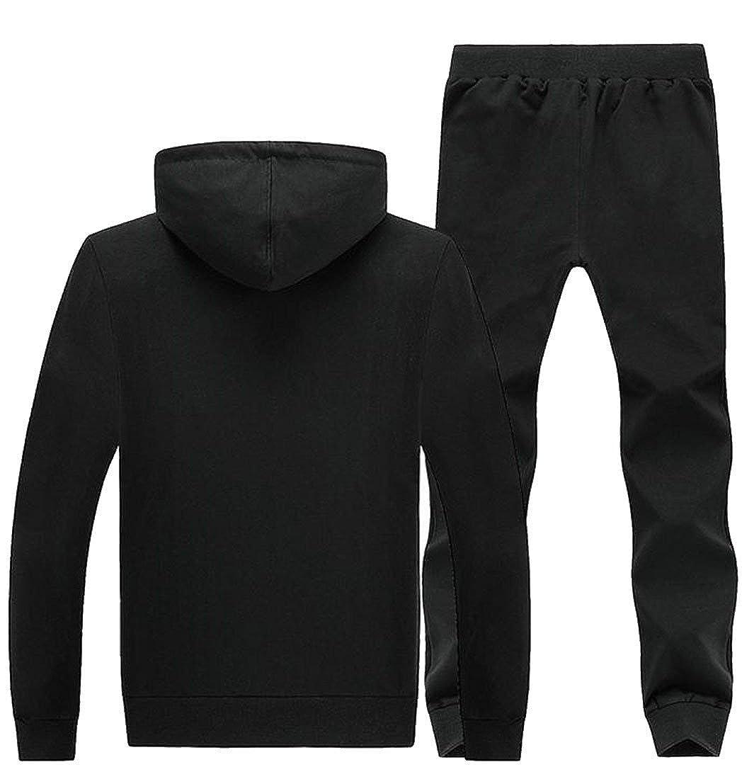 Bigbarry Men Hooded Long Sleeve Sport Sweatshirt and Pants Autumn Sweatsuit Set