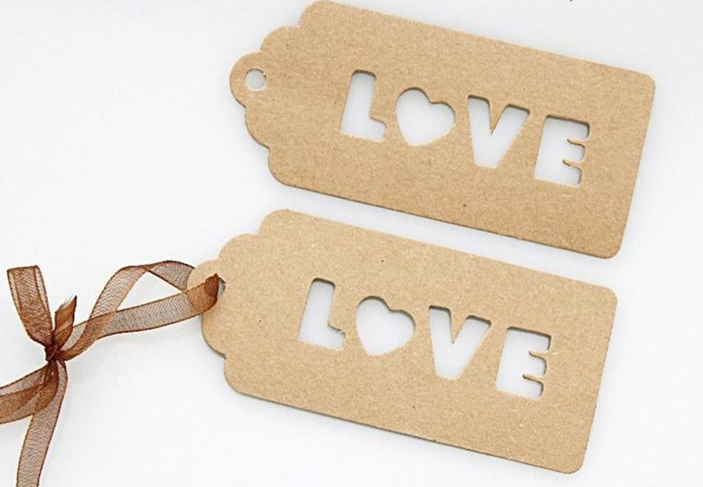 Youkara 100pcs Gift Tags Love Kraft Hang Tags Handing Tags Price Tags for Gifts Crafts Cookies Cake