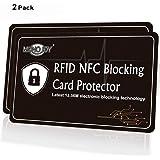 2 X RFID Blocking Card Credit Debit Card Protector Secure Credit Card Holder Wallet, MONOJOY Contactless Card Protection RFID NFC Blocking Card for Wallet and No Need RFID Blocking Sleeve