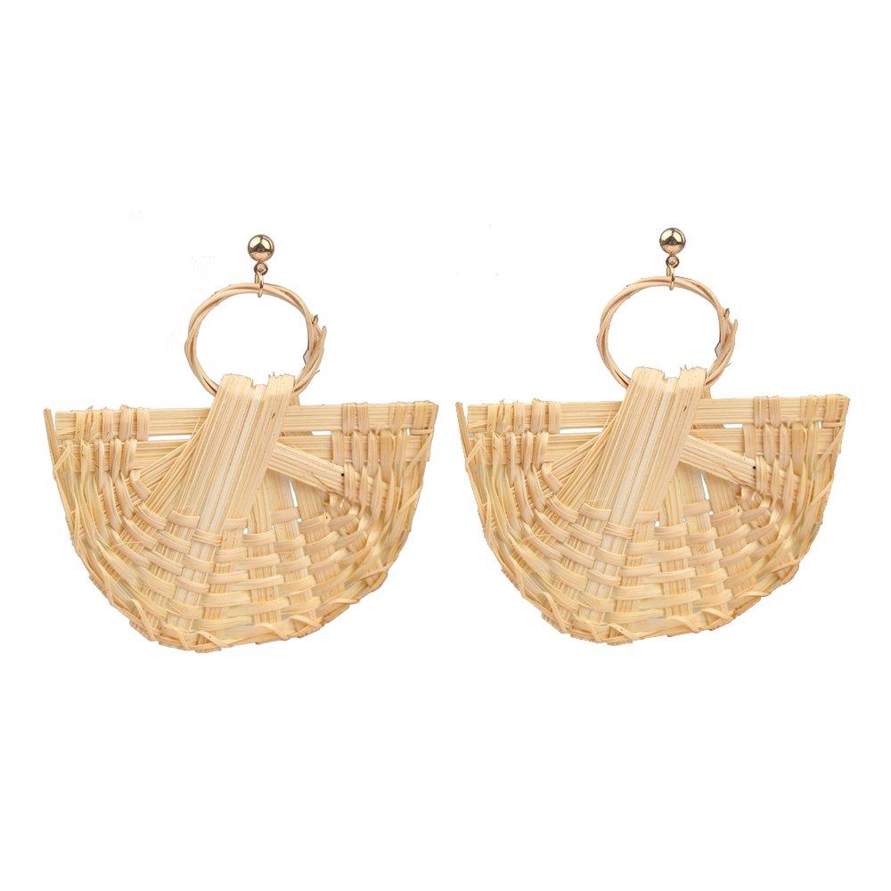 MIZUKAGAMI Ark Drop Earrings 2.9'' x 3'' for Women Handmade Rattan Weave