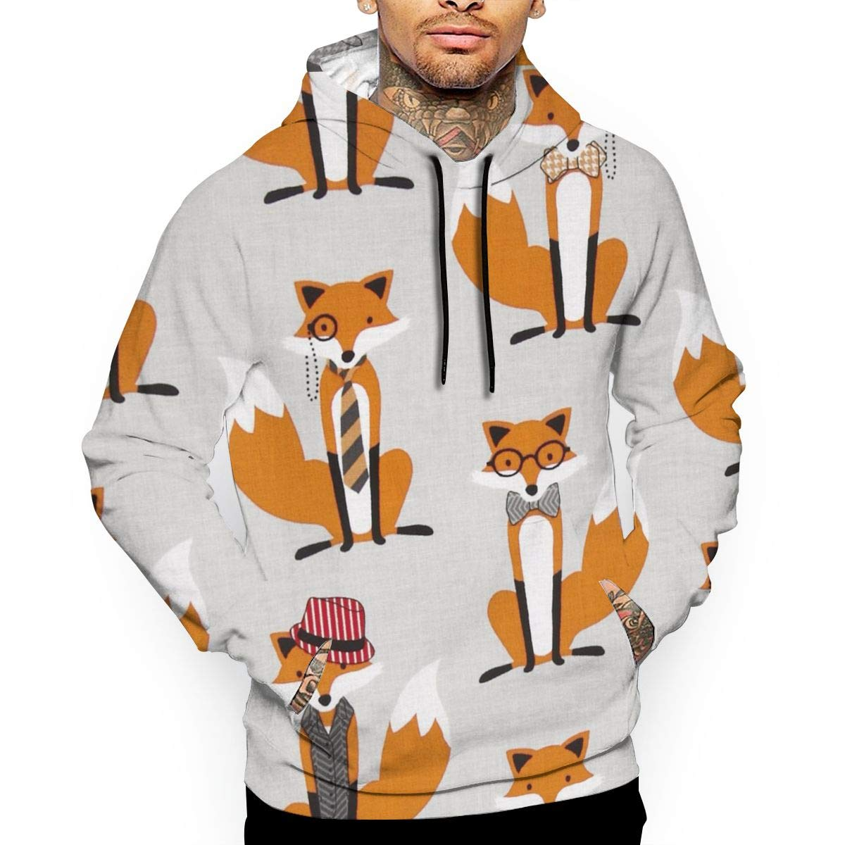 Elason77 Houndstooth Foxes Mens Adult Pullover Hooded Sweatshirt,Personality Hoodies