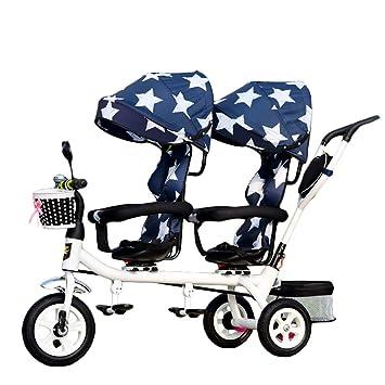 CHEERALL Niños 4 en 1 Trike Doble, Ligero, Triciclo de 3 Ruedas con ...