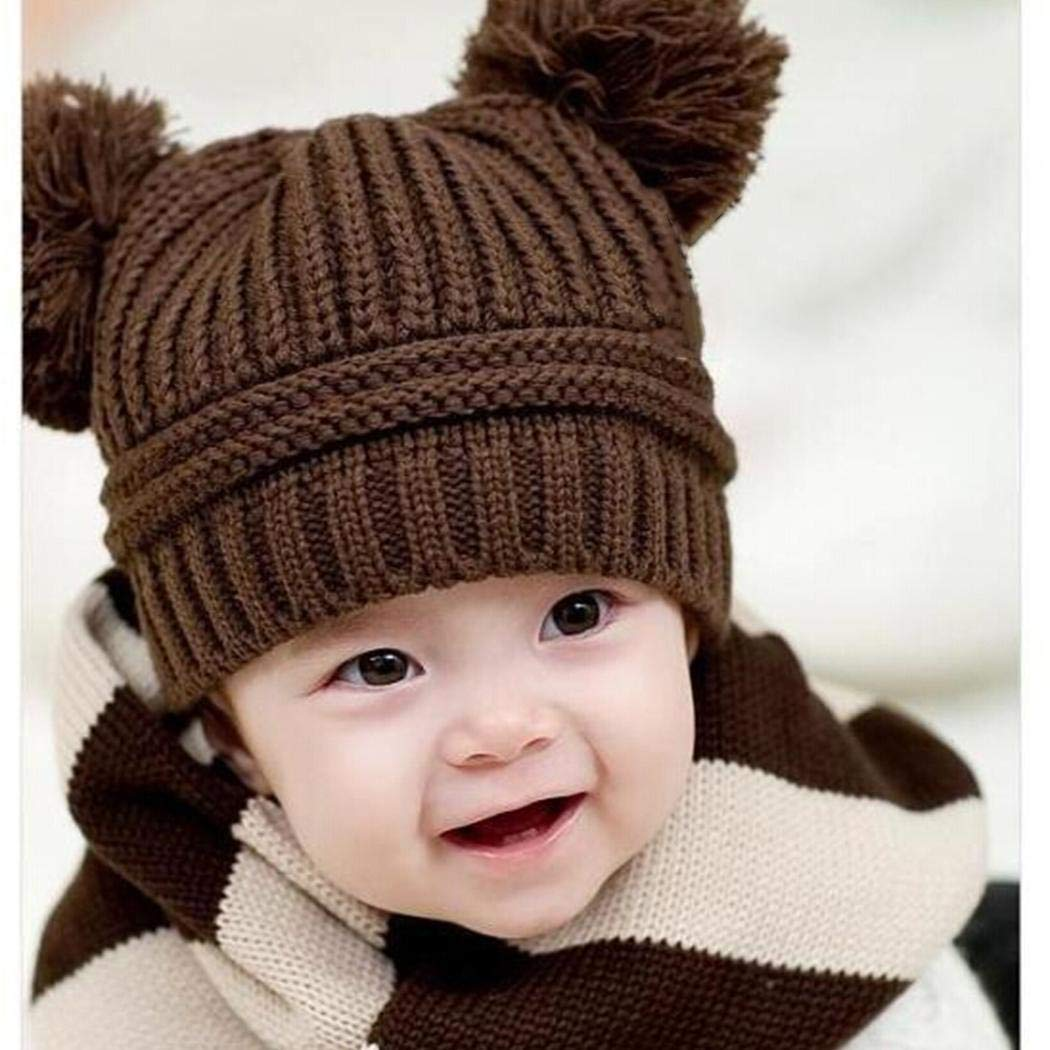 Amazon Dickin Kids Baby Solid Knit Hats Double Pompom Fur Ball