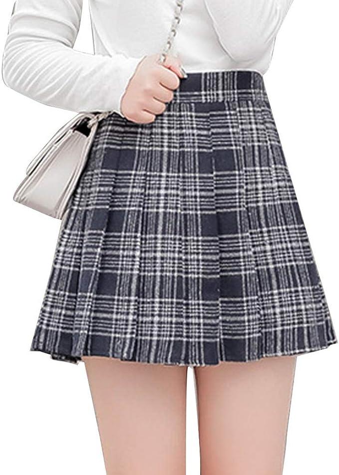 LaoZanA Mujer Falda Escocesa Plisada Mini Faldas Cortas Cuadros ...