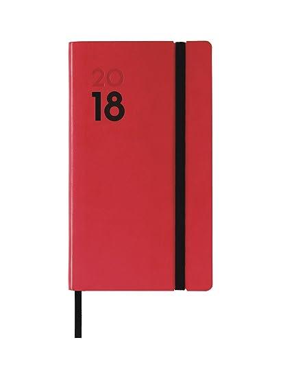 Finocam Dynamic Mara - Agenda 2018, semana vista vertical, español, 82 x 150 mm, 80 g/m², color rojo
